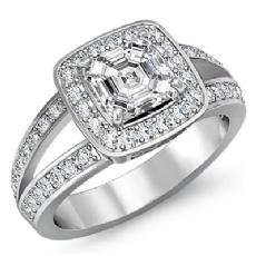 Halo Filigree Split Shank Emerald diamond engagement Ring in 14k Gold White