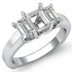 Emerald Diamond Three 3 Stone Engagement Ring 14k White Gold SemiMount Setting 0.5Ct - javda.com