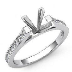 0.25Ct Princess Diamond Engagement Ring Side Stone Setting 14K W Gold Semi Mount