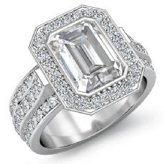 3 Row Shank Bezel Halo Emerald diamond engagement Ring in 14k Gold White