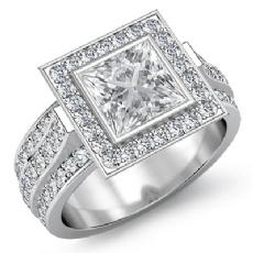 3 Row Shank Bezel Halo Princess diamond engagement Ring in 14k Gold White