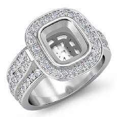 1.65Ct Halo Setting Diamond Engagement Cushion Semi Mount Ring 14K White Gold