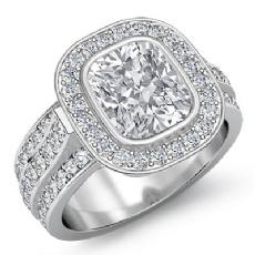 Bezel Set Trio Shank Halo Cushion diamond engagement Ring in 14k Gold White
