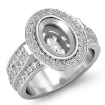 1.65Ct Diamond Engagement Halo Pave Setting Ring Oval Semi Mount 14k White Gold - javda.com