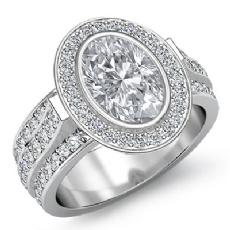 Halo Bezel Pave Set Shank Oval diamond engagement Ring in 14k Gold White