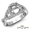 Diamond Engagement Ring Halo Prong Setting 14k White Gold Round Semi Mount 0.9Ct - javda.com