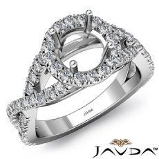 Diamond Engagement Ring Halo Prong Setting 14k White Gold Round Semi Mount 0.9Ct