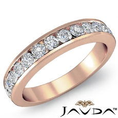 Women's Matching Half Wedding Band Channel Diamond 2.75mm Ring 14k Rose Gold  (0.5Ct. tw.)