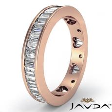 Baguette Diamond Women's Wedding Ring Heart Eternity Band 14k Rose Gold  (2.1Ct. tw.)
