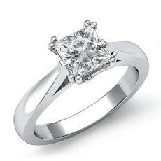 Double Prong Solitaire Princess diamond engagement Ring in 14k Gold White