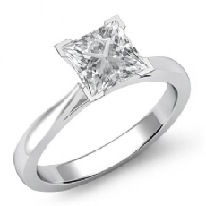 Classic Solitaire Tapered Princess diamond engagement Ring in 14k Gold White