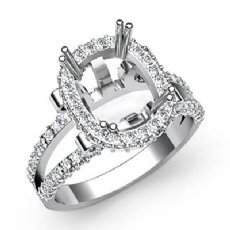 1.53 Ct Diamond Engagement Ring Cushion Semi Mount 14K White Gold Halo Setting