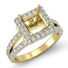 Diamond Engagement Ring Princess Semi Mount Halo Setting 14k Gold Yellow (1.56Ct. tw.)