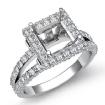 1.56Ct Diamond Engagement Ring Princess Semi Mount Halo Setting 14k White Gold - javda.com