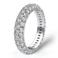3 Row Diamond Engagement Women's Eternity Ring Wedding Band 14k White Gold 3Ct