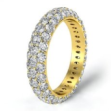 3 Row Diamond Engagement Women's Eternity Ring Wedding Band 14k Gold Yellow  (3Ct. tw.)