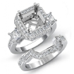 1.5Ct Diamond Engagement 3 Stone Halo Setting Ring Bridal Sets 14k White Gold - javda.com
