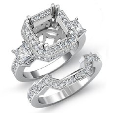 1.5 Ct Diamond Engagement 3 Stone Halo Setting Ring Bridal Sets 14k White Gold