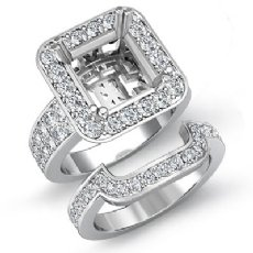 1.75Ct 2 Row Diamond Engagement Setting Ring Princess Bridal Sets 14K White Gold