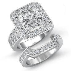 2 Row Shank Halo Bridal Princess diamond engagement Ring in 14k Gold White