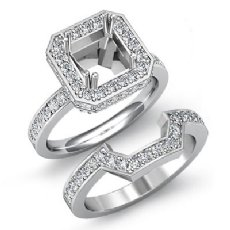 1.6Ct Diamond Engagement Halo Ring Princess Bridal Set 14K White Gold SemiMount