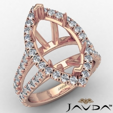 U Split Pave Halo Marquise Semi Mount Diamond Engagement Ring 14k Rose Gold (1.05Ct. tw.)