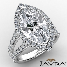 Anniversary Halo Split Shank Marquise diamond engagement Ring in 14k Gold White
