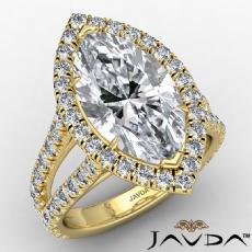 Anniversary Halo Split Shank Marquise diamond engagement Ring in 14k Gold Yellow