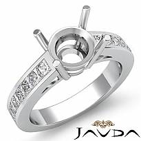 0.5C Round Diamond Classic Engagament Ring Channel Setting Semi Mount 14k W Gold