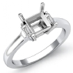 Baguette Princess Three Stone Diamond Engagement Ring 14k White Gold Setting 0.15Ct - javda.com