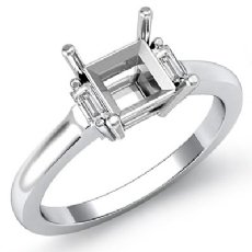 Baguette Princess Three Stone Diamond Engagement Ring Platinum 950 Setting  (0.15Ct. tw.)