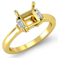 Baguette Princess Three Stone Diamond Engagement Ring 18k Gold Yellow Setting  (0.15Ct. tw.)