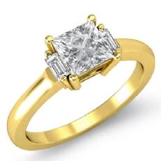 Baguette 3 Stone Prong Set Princess diamond engagement Ring in 14k Gold Yellow