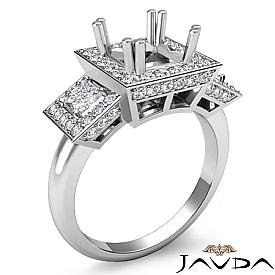 3 Stone Diamond Engagement Round Princess Setting Ring 14K W Gold Semi Mount 2Ct