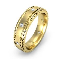 Carved Step Edge Men's Diamond Eternity Wedding Band in 18k Gold Yellow  (0.15Ct. tw.)