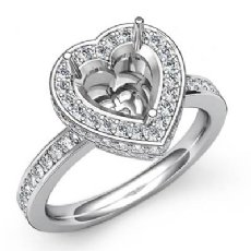 0.89 Ct Diamond Engagement Ring 14k White Gold Heart Cut Semi Mount Halo Setting