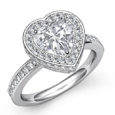 Pave Circa Halo Sidestone Heart diamond engagement Ring in 14k Gold White