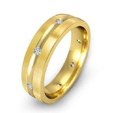 Brushed Finish Men's Diamond Eternity Wedding Band 14k Gold Yellow  (0.16Ct. tw.)