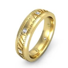Bezel Set Diamond Men's Carved Eternity Wedding Band 14k Gold Yellow  (0.15Ct. tw.)