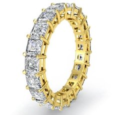 Asscher Cut Diamond Women's Eternity Wedding Band Ring 18k Gold Yellow  (3.55Ct. tw.)