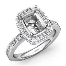 0.84Ct Diamond Engagement Ring Cushion Semi Mount 14k White Gold Halo Setting