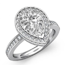 Halo Sidestone Pave Set Pear diamond engagement Ring in 14k Gold White