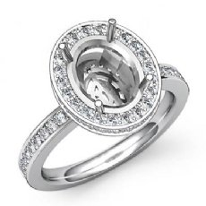 0.82Ct Diamond Engagement Ring Oval Semi Mount 14k White Gold Halo Pave Setting