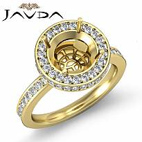 Diamond Engagement Semi Mount Ring Round Halo Pave Setting 14k Gold Yellow (0.8Ct. tw.)
