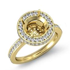Diamond Engagement Semi Mount Ring Round Halo Pave Setting 14k Gold Yellow (0.8Ct. tw.)