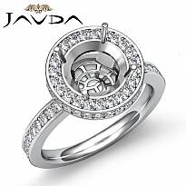 Diamond Engagement Semi Mount Ring Round Halo Pave Setting Platinum 950 (0.8Ct. tw.)