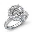 0.8Ct Diamond Engagement Semi Mount Ring Round Halo Pave Setting 14k White Gold - javda.com