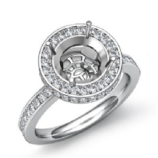 Diamond Engagement Semi Mount Ring Round Halo Pave Setting 18k Gold White (0.8Ct. tw.)