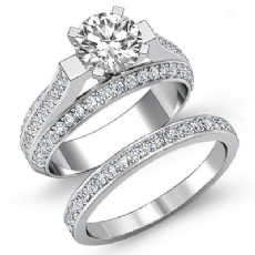 Classic Trio Shank Bridal Set Round diamond engagement Ring in 14k Gold White