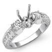 Round Diamond 3 Stone Engagement Ring Bezel Setting 14k White Gold Semi Mount 1.15Ct - javda.com